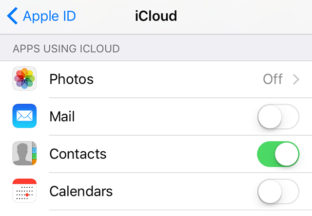 Contacts Didn't Transfer to New iPhone - Enable Contacts in iCloud