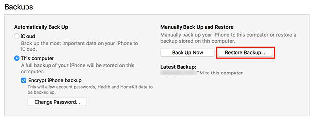 Contacts Didn't Transfer to New iPhone - Restore an iTunes Backup