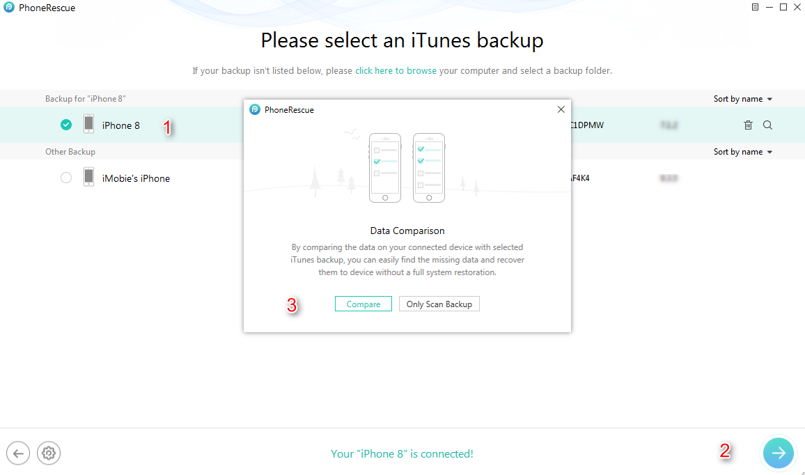 Fix Contacts Disappeared from iPhone 8/X Issues with an iTunes/iCloud Backup - Step 2