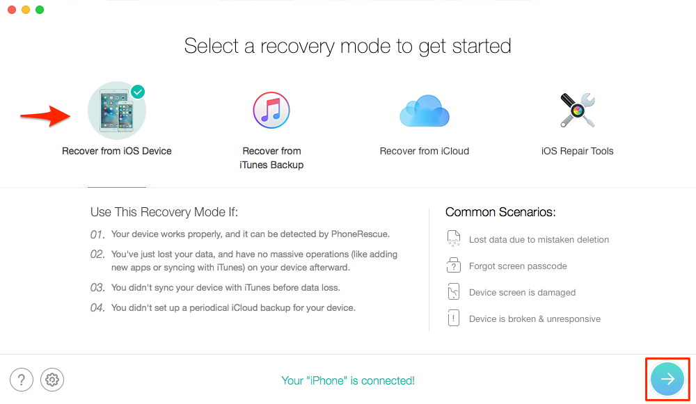 How to Recover Contacts from iPhone - Step 1
