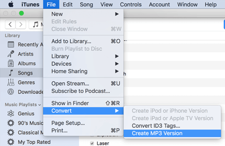 Convert AAC iTunes Songs to MP3 in iTunes