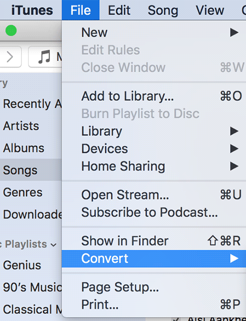 Choose the Convert option in iTunes
