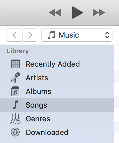 View songs list in iTunes on your computer