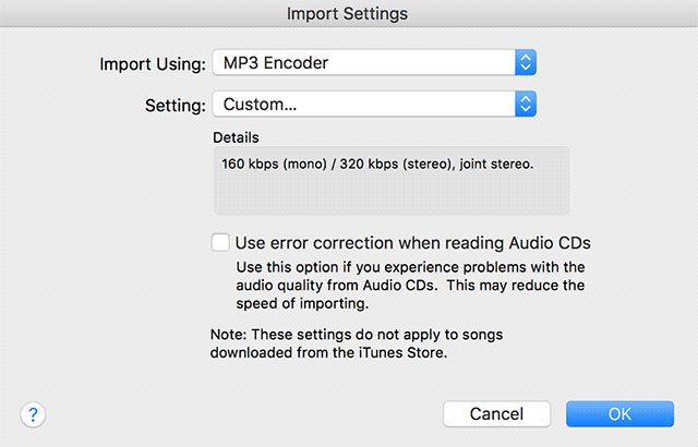 Change import settings in iTunes