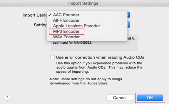 How to Convert Wav to MP3 iTunes -Step 3