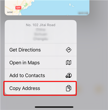 Copy Address to Google Maps