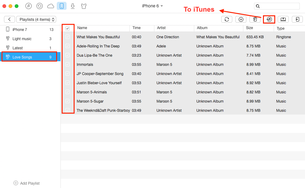 How to Copy Playlist from iPhone to iTunes - Step 3