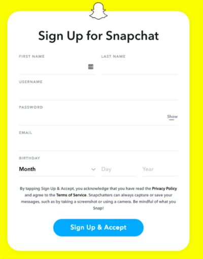 Create a New Snapchat Account