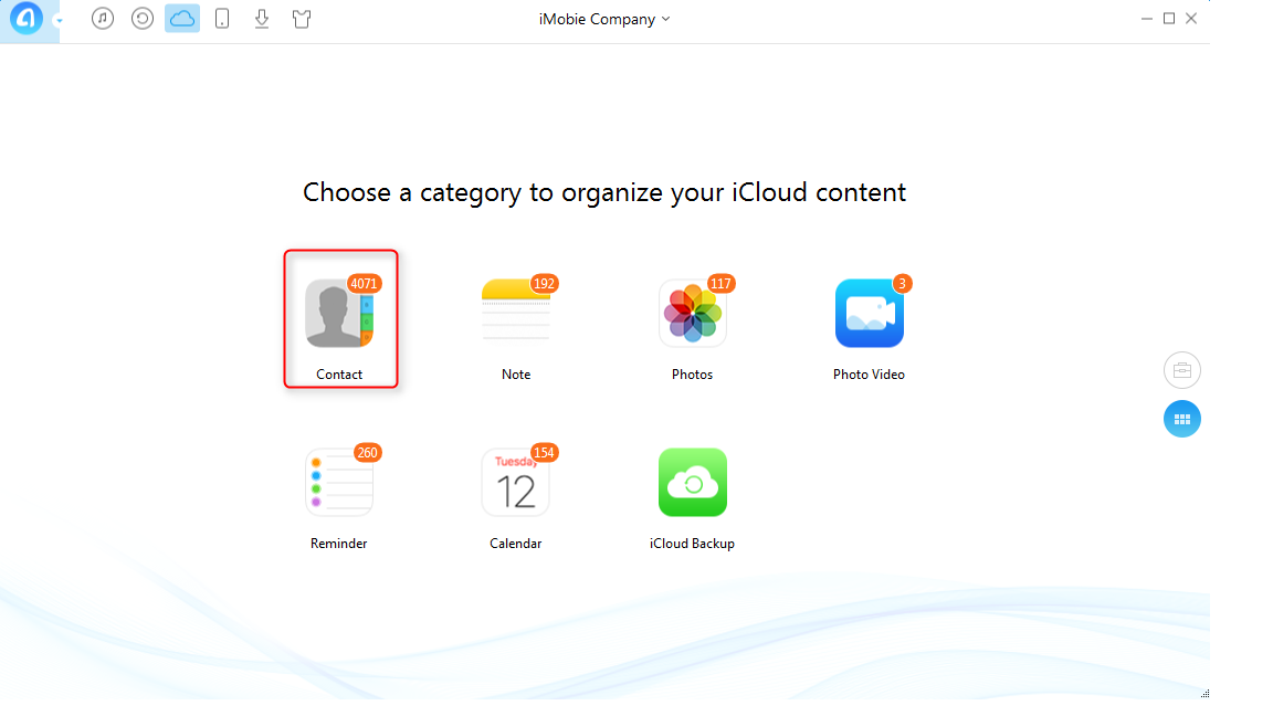 Delete All iCloud Contacts with AnyTrans - Step 2