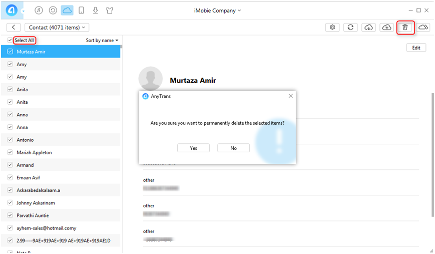 Delete All iCloud Contacts with AnyTrans - Step 3