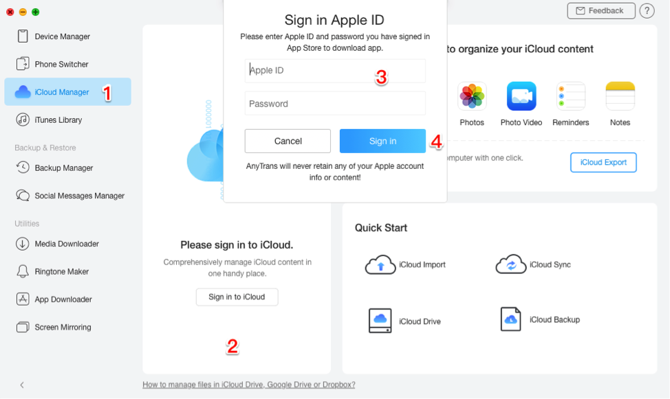 Delete Contacts from iCloud via AnyTrans - Step 1