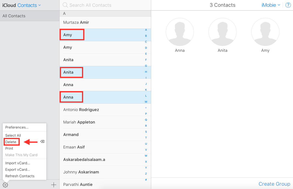 How to Delete Duplicate Contacts in iCloud - Step 3