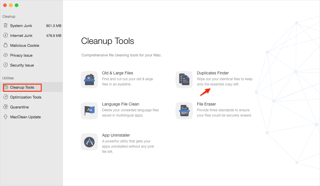How to Delete Duplicate Pictures on Mac with MacClean– Step 1