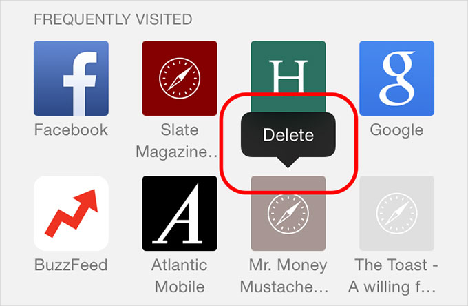 Delete Frequently Visited Sites in Safari on iPhone
