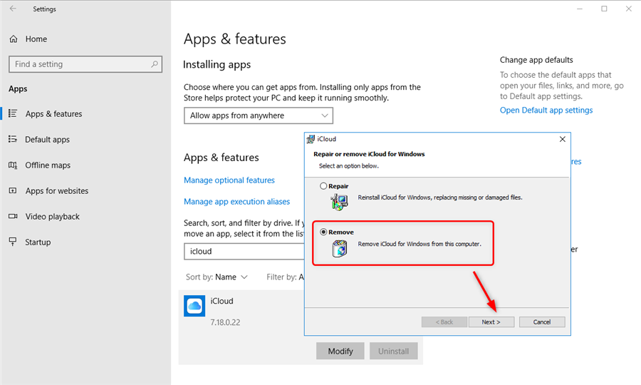 Remove iCloud from Windows PC