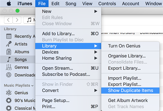 View duplicate items in iTunes for Mac