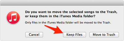 Keep files in iTunes library