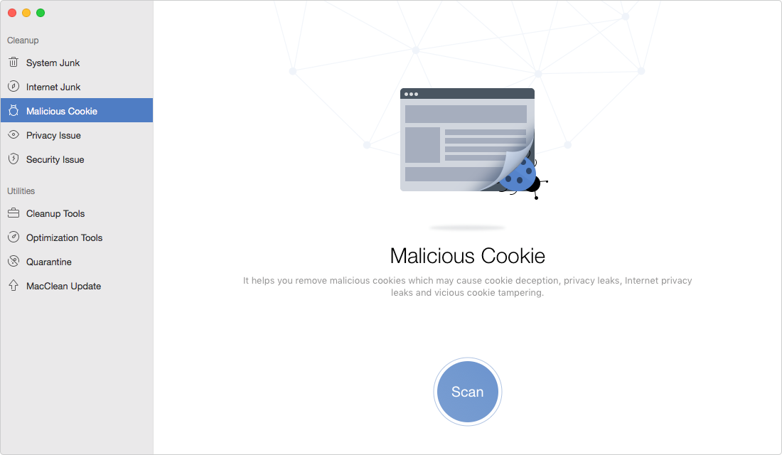 Delete Malicious Cookies on Mac with MacClean- Step 2