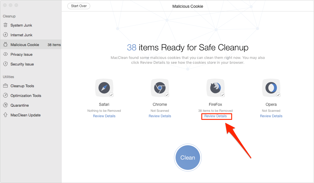 Delete Malicious Cookies on Mac with MacClean- Step 3