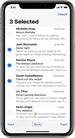 How to Delete Multiple Emails on iPhone/iPad via Moving - Step 2