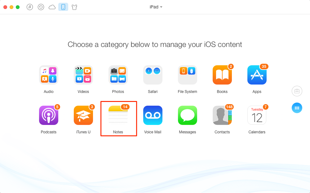 How to Delete Notes on iPad with AnyTrans – Step 2