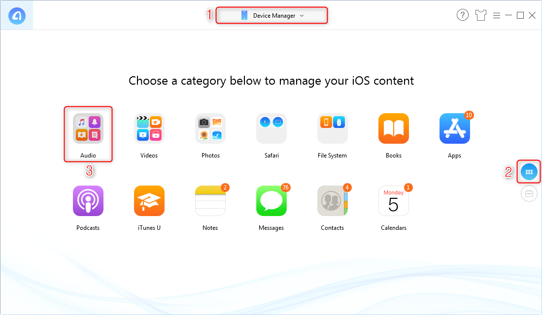 Delete Playlist on iPhone with AnyTrans – Step 1