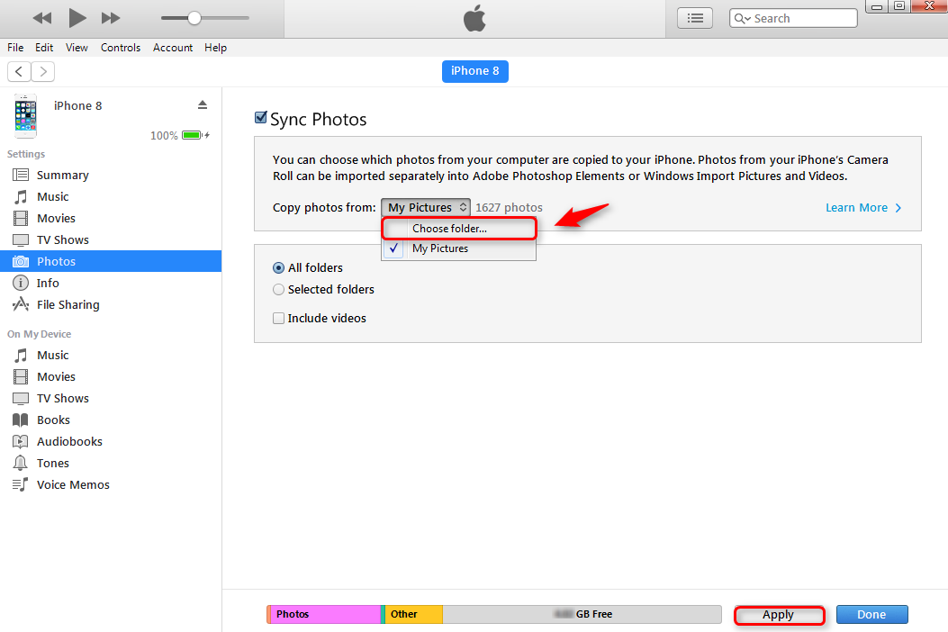 Remove All Synced Photos from iPhone iPad iPod by Syncing with A New Folder