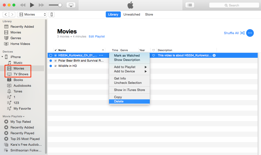 How to Delete Movies/TV Shows from iPhone via iTunes