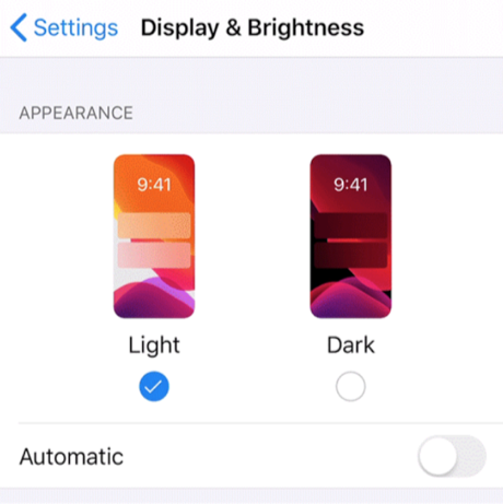 Disable Dark Mode in iOS 13 from the Settings App