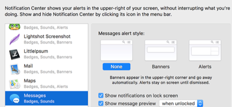 Disable iMessage Notifications on Mac