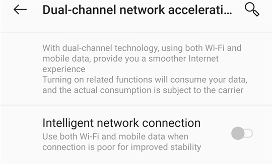 Turn off the Intelligent Network Connection