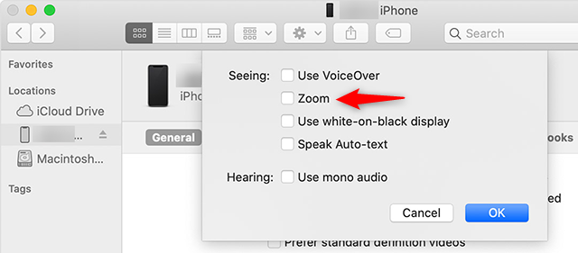 Disable Zoom Using Finder