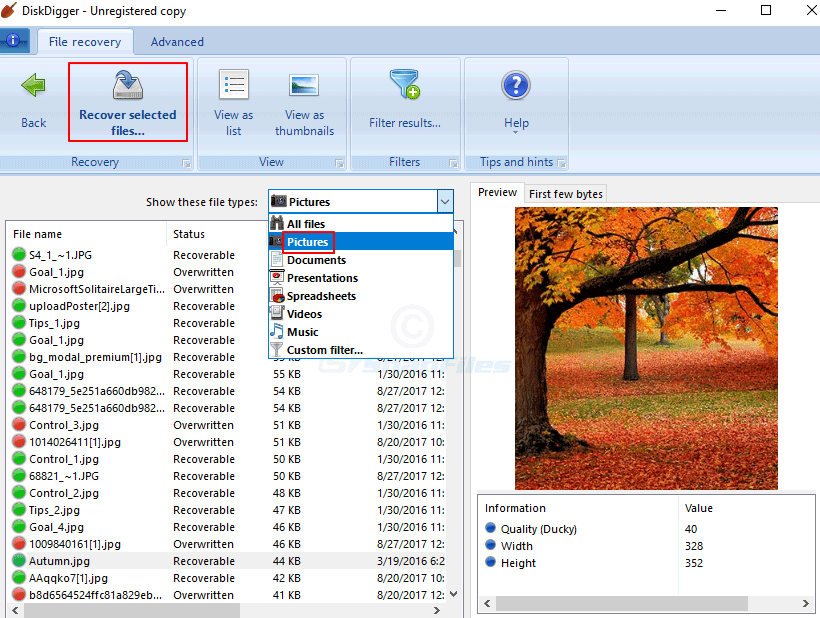 Recover Photos with DiskDigger