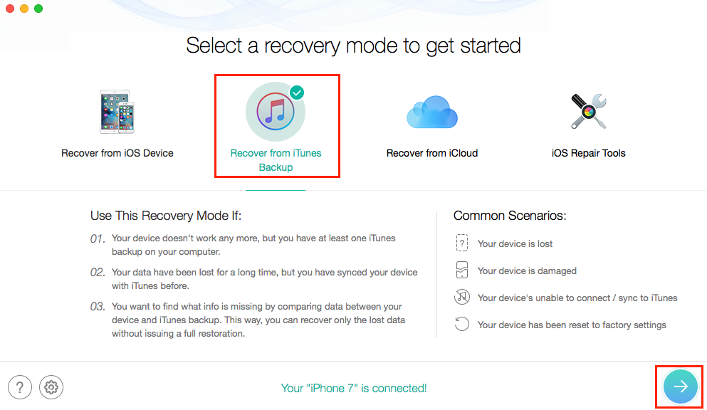 How to Recover Contacts from iTunes Backup - Step 1