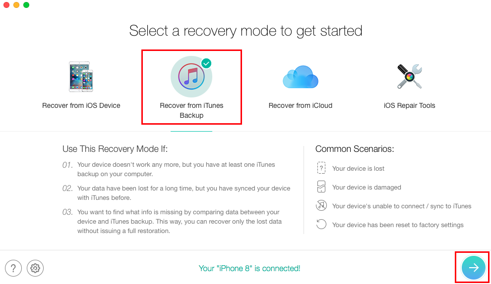 Recover Deleted Text Messages from iTunes Backup without Erasing - Step 1
