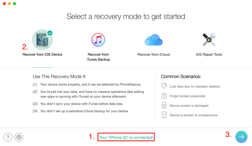How to Recover Deleted Notes without Backup – Step 2