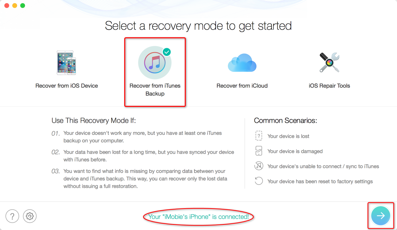 How to Restore Messages from iTunes Backup - Step 1