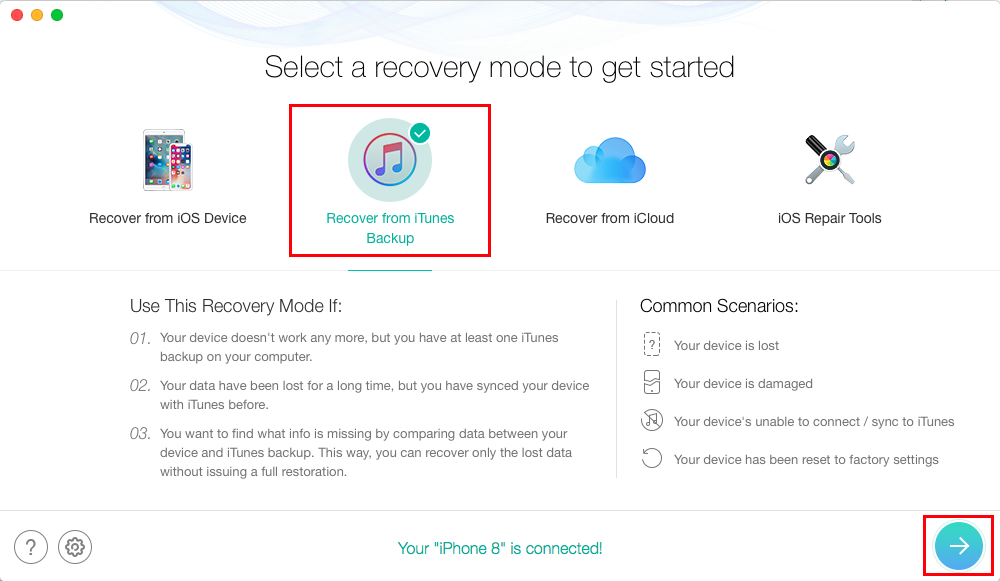 How to Restore iPhone from Backup without Erasing Data - Step 1