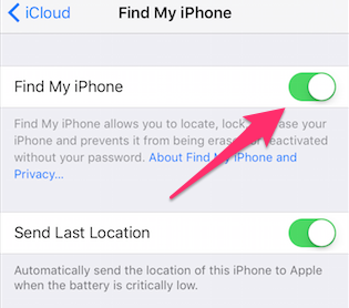 Turn off Find My iPhone – Step 2