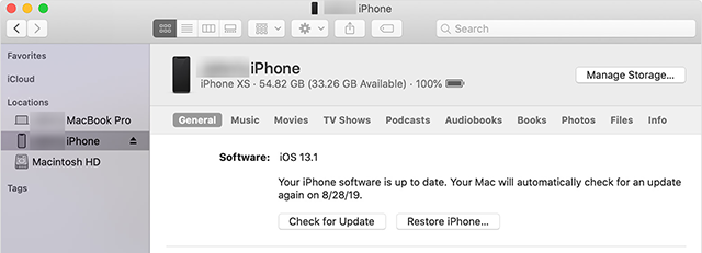 Downgrade iOS with iTunes/Finder