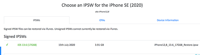 Choose an IPSW for iPhone Model