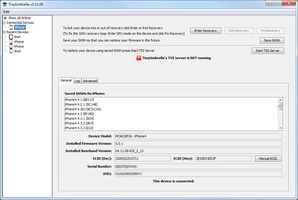 Click Save SHSH and Then Start TSS Server