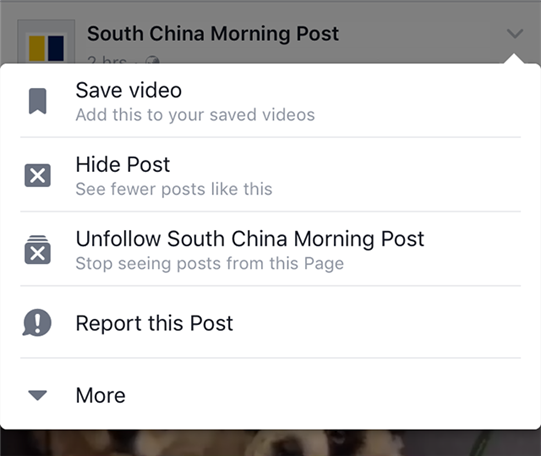 Save a video in the official Facebook app
