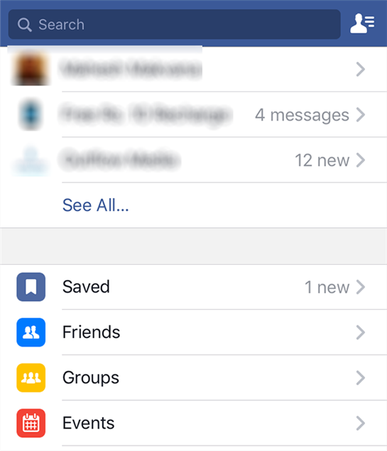 Access saved videos in Facebook