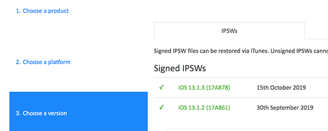 Download IPSW file for your iOS device