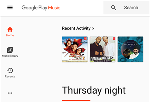 Access your music library on Google Play Music