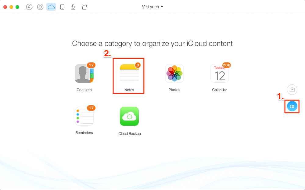 Download Notes from iCloud with AnyTrans – Step 2