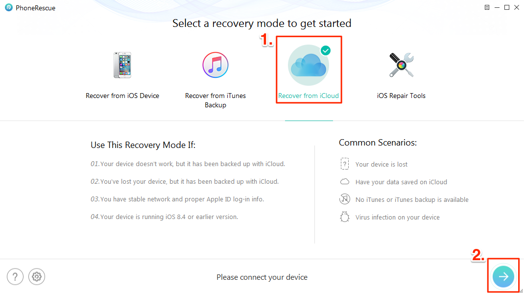 How to Download Notes from iCloud to iPhone iPad with PhoneRescue – Step 1