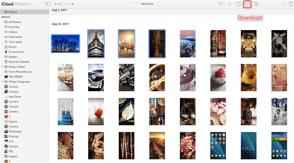 Select Photos to Download from iCloud