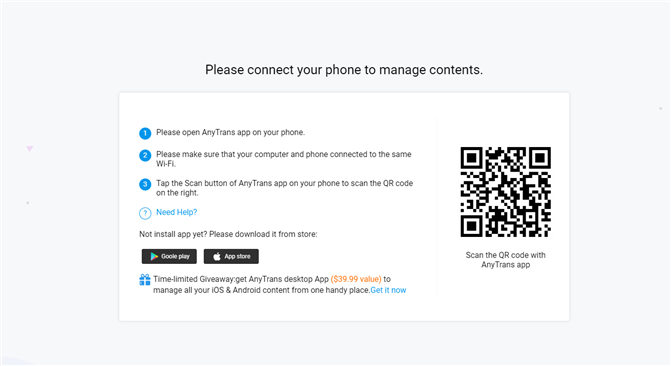Download Pictures from iPhone to Surface Wirelessly - Step 2